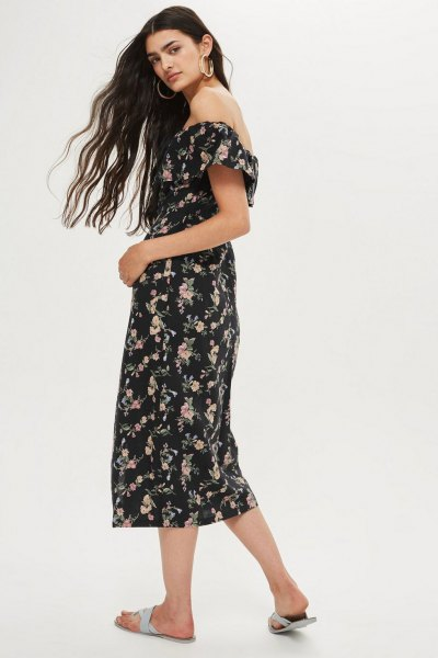 black and white floral printed midi bardot dress