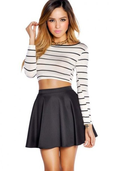black and white striped long sleeve cropped tee with high waisted mini skater skirt