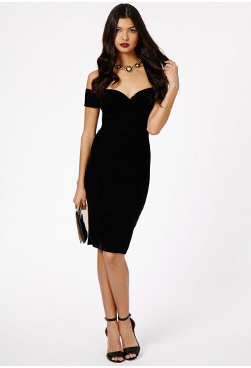 black bardot bodycon midi dress with open toe ankle strap heels