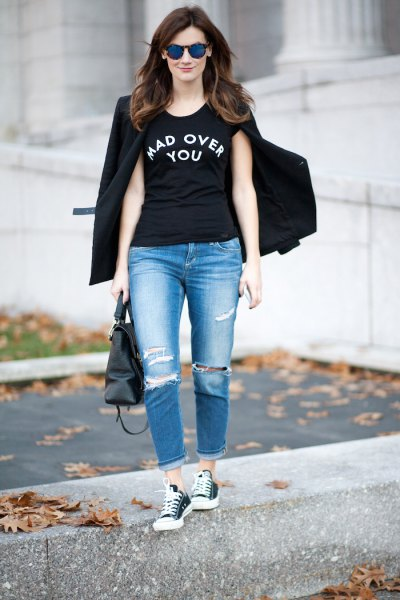 black cool graphic tee with blazer and boyfriend jeans