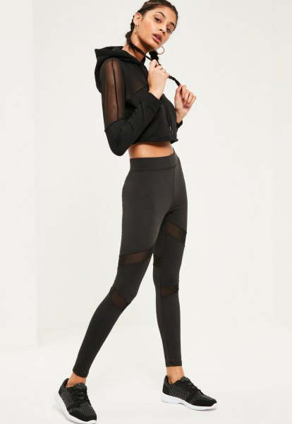 black cropped mesh hoodie with matching leggings