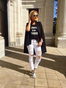 black graphic tee with oversized blazer and ripped slim fit jeans