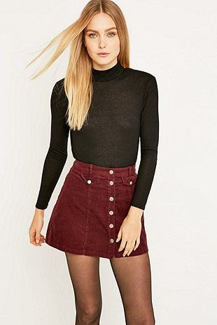 black mock neck sweater with maroon button front mini skater skirt