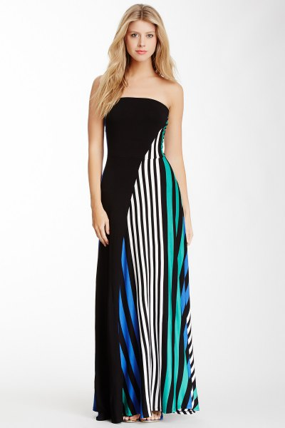 black pink and white vertical striped maxi dress