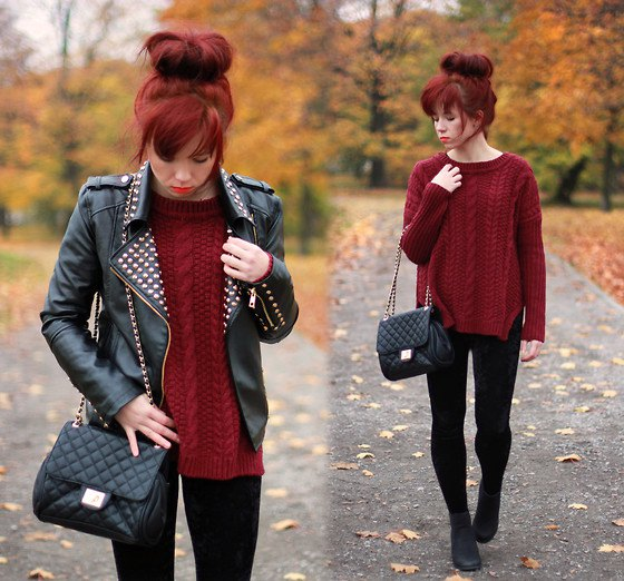 black studded leather moto jacket with cable knit marron sweater
