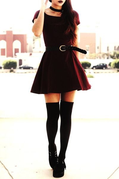 black tee with belted skater skirt and thigh high tights