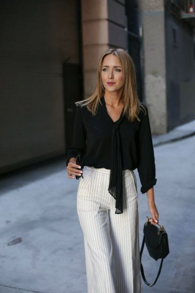 black tie front blouse with grey and white striped wide leg pants