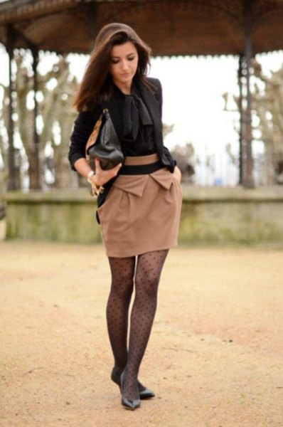 black tie front blouse with mini blush skirt and polka dot tights
