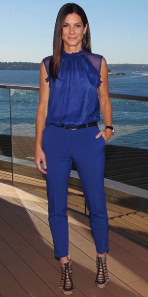 blue sleeveless blouse with matching cropped pants