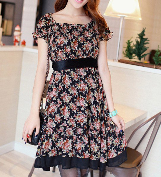 blush pink and black belted floral printed knee length dress