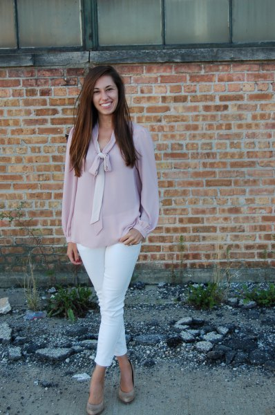blush pink chiffon blouse with white ankle jeans