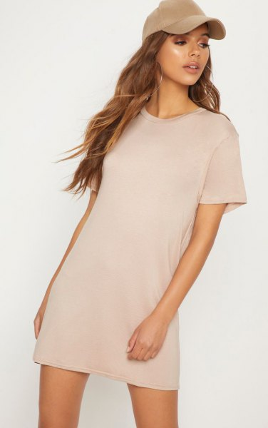 blush pink short sleeve t shirt dress with matching baseball cap