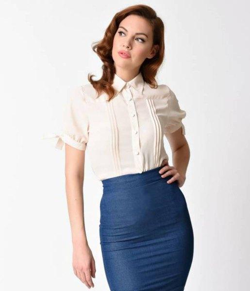 cream slim fit collar shirt with navy blue bodycon midi skirt
