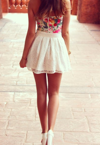 dye tie tank top with white lace high waisted skater mini skirt