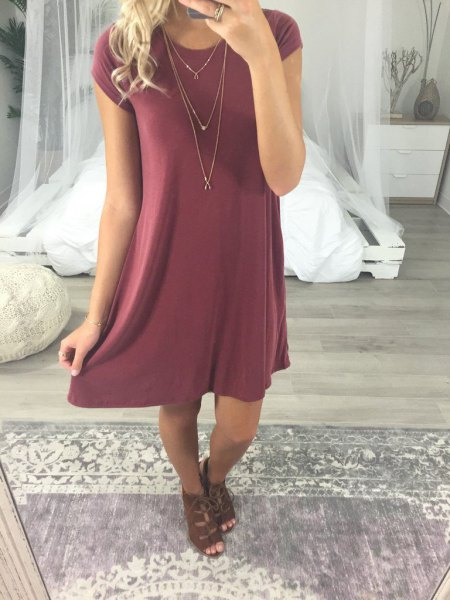 green short sleeve crew neck mini shift dress