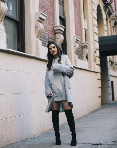 grey dress with longline wool coat and thigh high boots