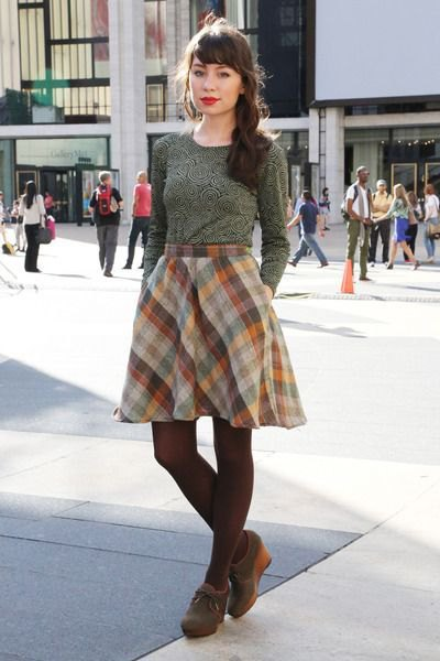 grey fitted sweater with plaid flared mini skirt