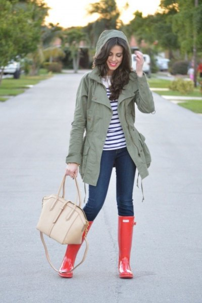 grey hooded jacket with navy and white striped long sleeve tee