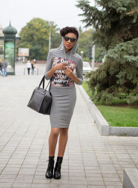 grey printed hooded bodycon mini dress