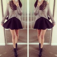 grey relaxed fit sweater with scarf and black mini skater skirt