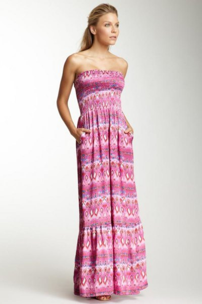 grey tribal printed strapless gathered waist maxi dress