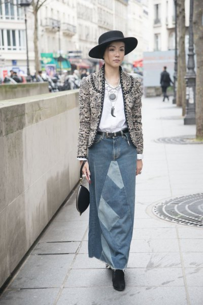 grey tweed collarless blazer with long denim skirt