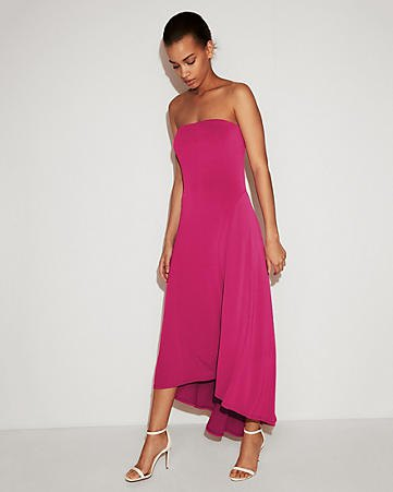 hot pink strapless high low maxi dress with white open toe heels