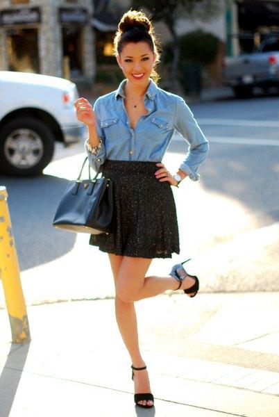 light blue chambray button up shirt with black high rise mini skirt