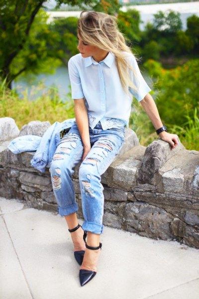 light blue short sleeve shirt with boyfriend ripped jeans