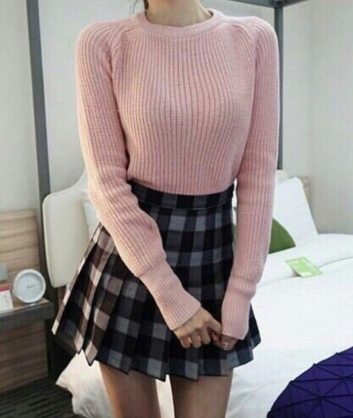 light grey ribbed sweater with plaid mini pleated skirt