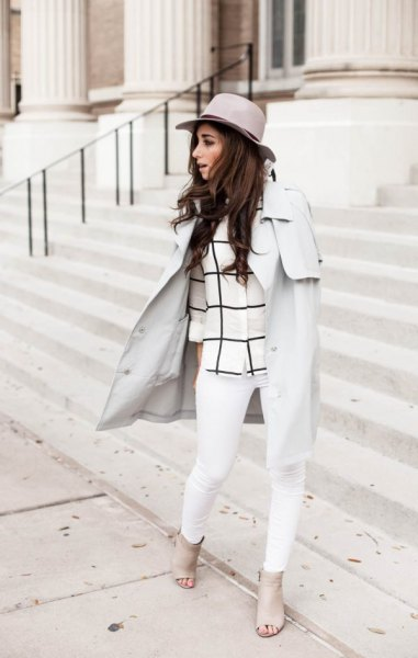 light grey walker coat with plaid top and white jeans