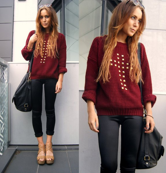 maroon studded sweater with black coated skinny cuffed jeans