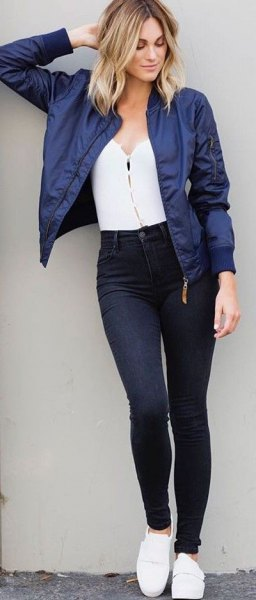 cd495dadc How to Wear Blue Bomber Jacket: 15 Boyish & Chic Outfit Ideas for ...