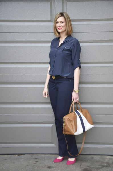 navy blue button up shirt with slim fit jeans
