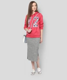 pink graphic zip up sweatshirt with heather grey midi skirt
