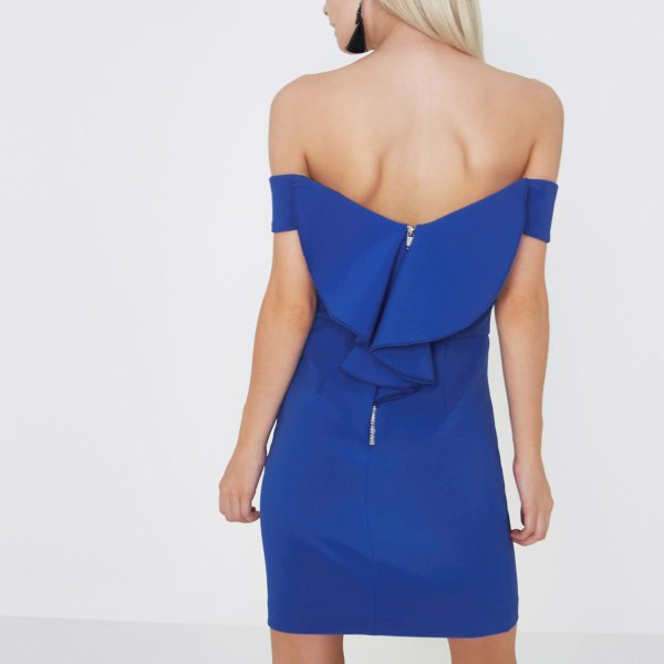 royal blue bardot mini dress with white heels