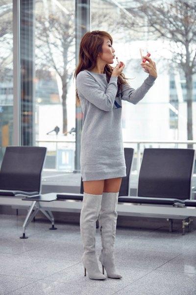 sweatshirt mini dress with heeled thigh high boots