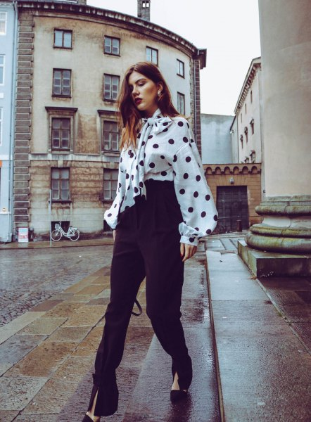 white and black polka dot tie front chunky blouse with high rise pants