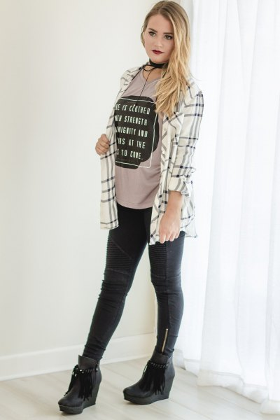 white and grey plaid boyfriend shirt with blush pink cool graphic tee