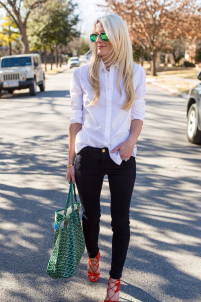 white button up silk shirt with black slim fit jeans