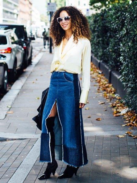 white chiffon v neck blouse with blue maxi long denim skirt