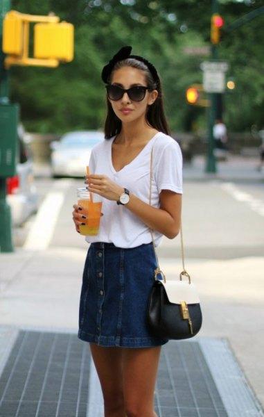 white v neck t shirt with denim button front skirt