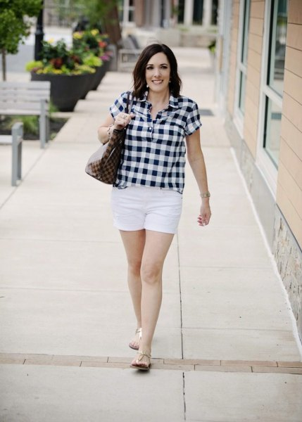 black and white checkered shirt with mini casual shorts