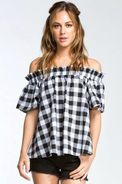black and white plaid off the shoulder blouse with mini denim shorts