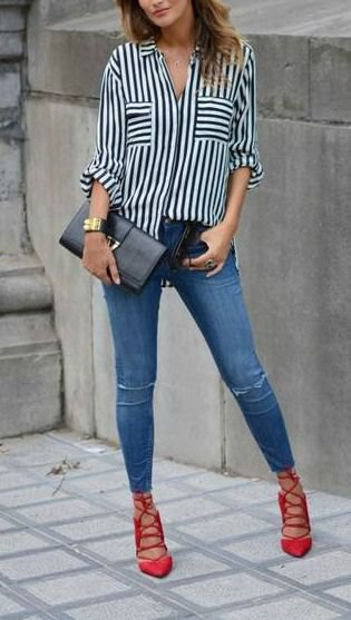 black and white striped button up shirt with blue jeans and red lace up heels