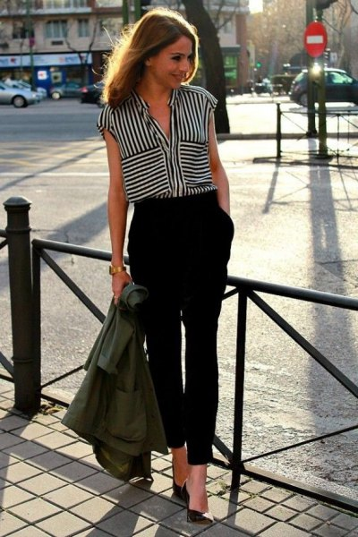 black and white striped sleeveless blouse with cropped chinos
