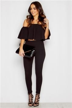 black cropped off the shoulder blouse with skinny jeans