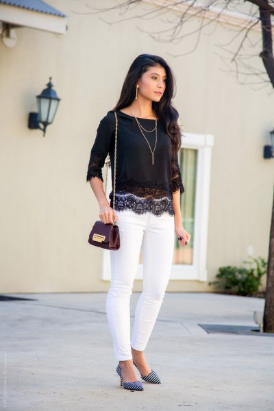 black half sleeve scalloped hem lace top with white skinny jeans