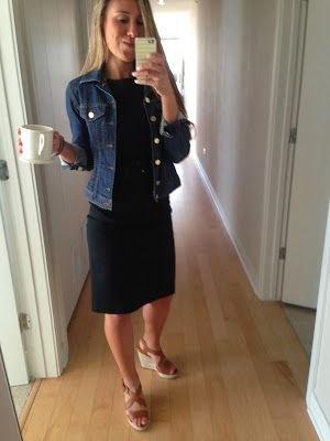 black knee length dress with blue denim jacket