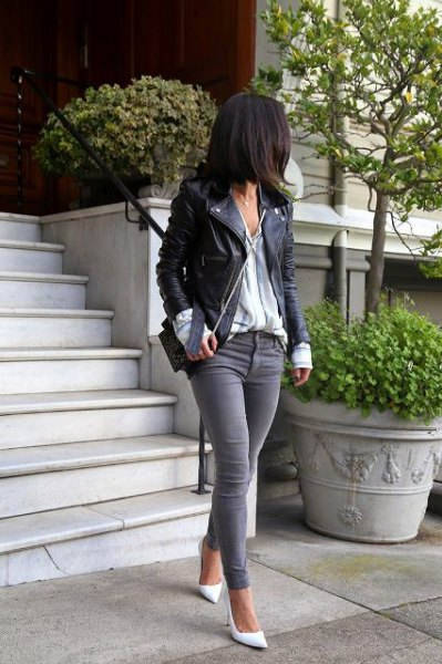 black leather jacket with striped shirt and grey skinny jeans